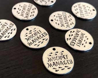 4 Harry Potter Charms Mischief Managed | I Solemnly Swear I Am Up To No Good | Marauders Map Charm | Ready to Ship from USA | AS402-4