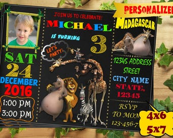 Madagascar birthday invitation/ Madagascar party invitation /Printable/ digital invite/ Birthday card/ Madagascar Birthday Invite/