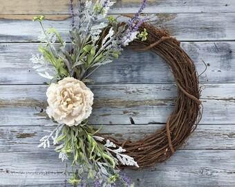 Farmhouse Wreath, Spring Wreath, Summer Wreath, Rustic Wreath, Farmhouse Decor, Farmhouse Wall Decor, Front Door Wreath, Spring Decor,Spring