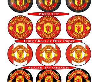 Manchester United FC pre-cut edible  cupcake toppers, 2 sizes