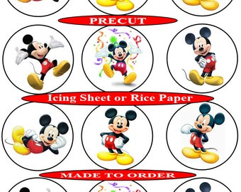 Mickey Mouse pre-cut edible  cupcake toppers, 2 sizes