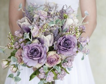Bouquet Wedding Silk Lavender Flowers Lilac Artifical