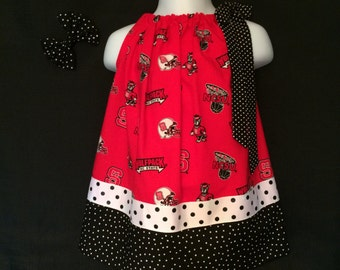 NCSU Wolfpack Pillowcase Dress, Wolfpack Pillowcase Dress, NCSU Dress Size 6-12 Months, NC State Baby Dress, Wolfpack Dress with Hair Bow