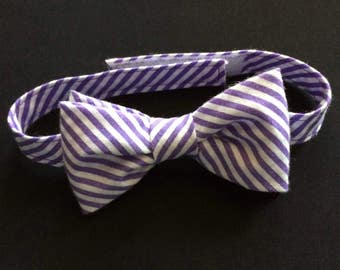 Lavender & White Striped Bow Tie, Boys Striped Bow Tie, Lavender Striped Bow Tie, Baby Bow Tie, Striped Bow Tie, Child's Lavender Bow Tie
