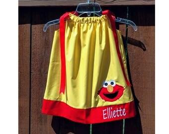 Personalized Elmo Dress // Elmo Birthday Dress // Elmo Dress // Birthday Outfit // Elmo Outfit // Yellow with Tiny Dots