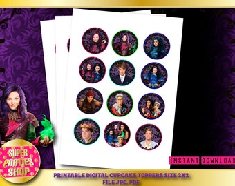 Descendants Digital  Printable Party Cupcake Toppers , Custom Party, Descendant ,Birthday,Kit,Pack,Supply,supplies