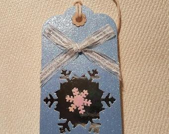 Christmas Snowflake Gift Tags Large Handmade Xmas Giftwrap Pack of 5.