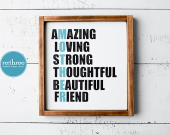 Mother's Day Gift, Mother's Day Sign, Mother Acrostic Sign, Sign for Mom, Wood Sign with Frame, Wood Decor, Farmhouse Sign