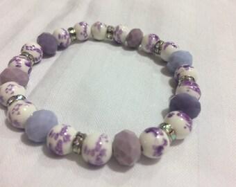 Women's bracelet- purple/white floral beads