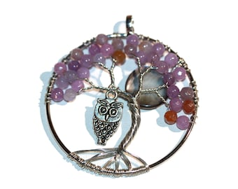 Tree of Life Pendant Purple Tree of Life Owl and Full Moon Necklace Silver Tone Wire Wrap Large Round Tree of Life