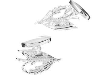 Fishing Fly Cufflinks in Sterling Silver