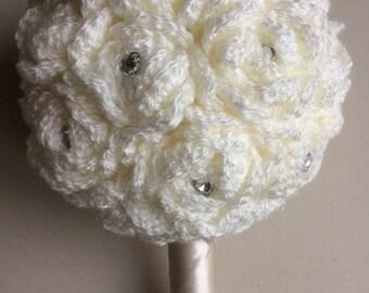 Plain cream sparkle hand crocheted bouquet