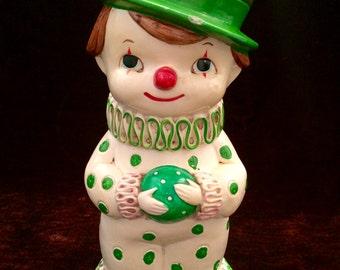 CLOWN COIN BANK, Piggy Bank, Cute Boy Clown, Ceramic Piggy Bank with Stopper, Playful Young Clown, Green Polka Dots, Made in Japan, Ceramic