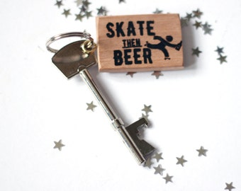 Wooden Roller Derby Skater Key Fob can be personalised