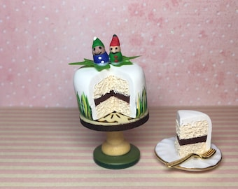 Dolls house miniature food polymer clay cake, woodland gnomes theme, 1:12 inch scale