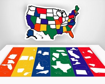 """US Travel Decal Rv Decals - RV Trailer Accessories - State Sticker Map Road Trip Motorhome Stickers -Travel Stickers - 13"""" x 17"""" inches"""