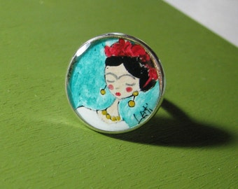 Ring Frida Kahlo/WEARABLE ART with hand painted illustration with acrylic