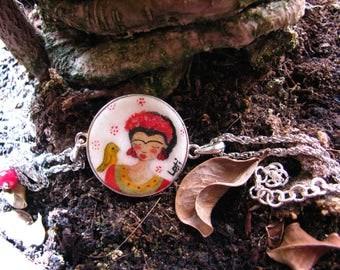 FRIDA KAHLO Bracelet ... Hand painted on sand casting