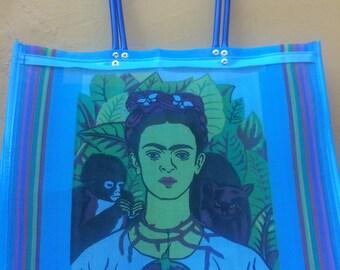 Blue Frida Kahlo market bag /  plastic market bag / long handles