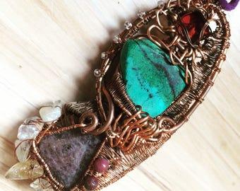 Garnet, Ruby, Chrysocolla in Copper