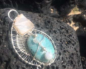 Amazonite and Moonstone in Silver
