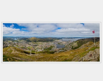 Panorama - High View over the City of Bergen - Norway Fine Art Print