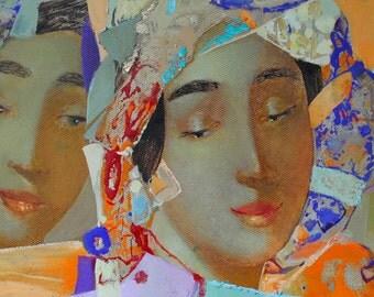 Original oil painting signed on canvas wall art girl woman renaissance ukrainian painting by artist