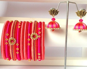 Silk Thread Bangles with Jhumki Earrings - Peach & Pink Color