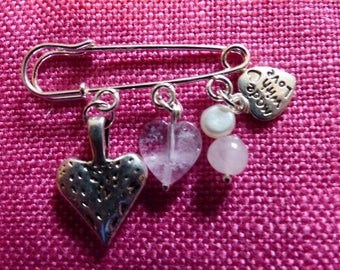 Silver Heart Safety Pin with Pearls and Rainbow Amethyst Charms