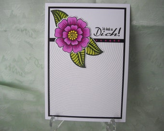 Greeting card, greeting card, Hennah flower, glitter card