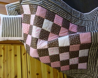 """Quilt Set """"Warmth of Chocolate –Tenderness of Pink"""""""