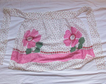 1950s Hostess Apron, Half Apron, Pink Flowers