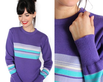 Purple, White, and Teal Striped Varsity Sweater XS/S