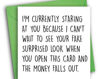 Funny Birthday Card/ Surprised Look/ Greetings Card