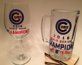 Chicago Cubs Wine Glass and Beer Mug
