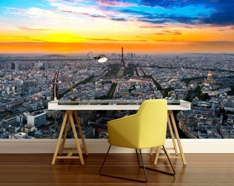 Paris wallpaper, Paris wall mural, France wall mural, self-adhesive vinly, cities wall mural, Paris wall decal, Eiffel tower wallpaper,