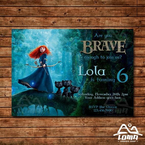 Brave Birthday Invitation, Merida Birthday, Disney Princess Invitation, Princess Birthday Invitation
