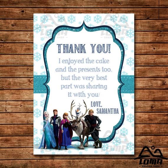 Frozen Birthday Thank You, Frozen Birthday, Disney Princess Thank You, Princess Birthday Thank You, Anna and Elsa