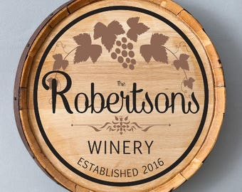 Custom Wine Barrel Sign, Gift for Wine Lovers, Reclaimed Wood, Family Name Signs, Housewarming Gift, Gift for Couples, Wedding Gift