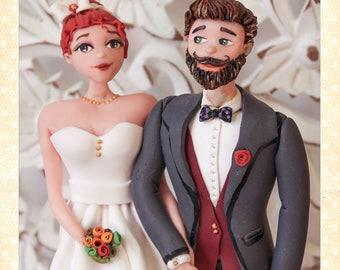 Custom polymer clay toppers, bride and groom- CUSTOM, wedding cake topper, perfect gift, custom cake topper figurines