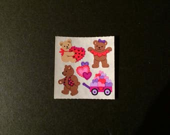 Sandylion vintage rare kromekote/paper bears with hearts stickers