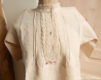 New antique French linen night gown hand stitched and monogrammed MLC