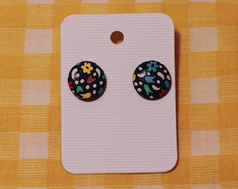 Blue folk flower print- stud earrings
