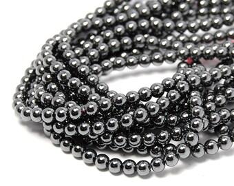 """Two Strands, Hematite 4mm Round Beads, 15.5"""""""