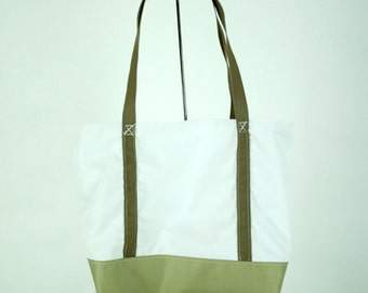 White Sailcloth Shoulder Tote Bag with Tan Bottom, Straps and Lining