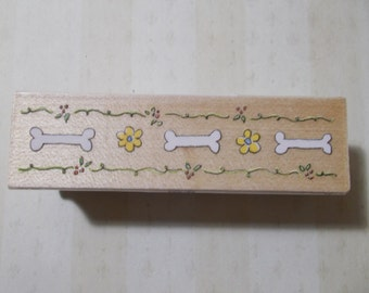 Adorable Doggie Bone and Flower Rubber Stamp