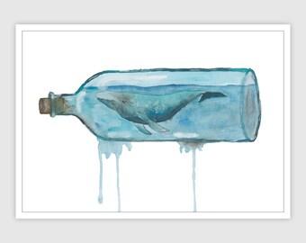 Sperm Whale | DIN A4 | Whale Art | Whale Print | Underwater Decals | Watercolor Art | Watercolor Whale | Whale Art Print | Underwater Art