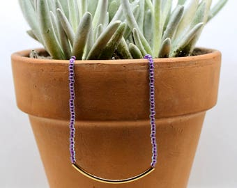 NEW / Electric Purple Beaded Necklace / Seed Bead Necklace/ Gold Plated Tube Necklace