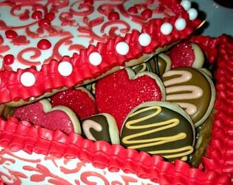 Valentines Cookie Box- Heart Cookies Decorated Sugar Cookies - Decorated Cookies - Birthday Cookies, Party Cookies, Custom Cookies