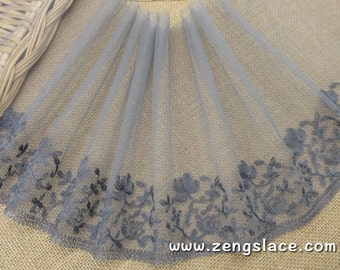 Grey mesh lace trim with floral embroidery, soft lace, wide lace, castteam lace, about 8 1/4 inches wide, lace by the yard. ee-15-01